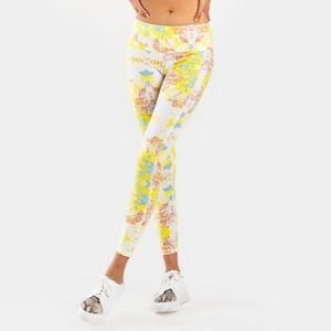 Francesca's Christa Yellow Tye Dye Active Leggings